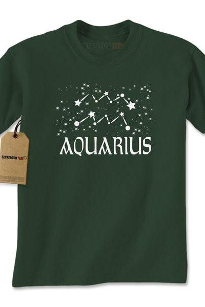 Aquarius Zodiac Star Chart Mens T-shirt