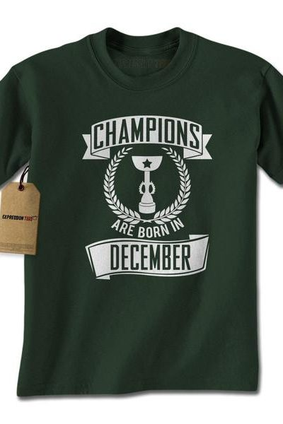 Champions Are Born In December Mens T-shirt