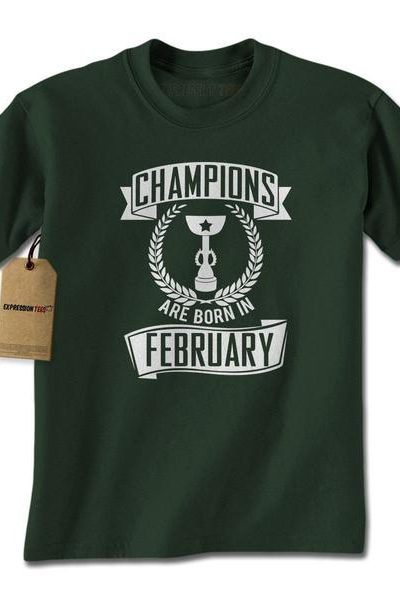 Champions Are Born In February Mens T-shirt