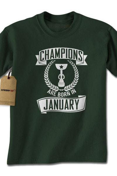 Champions Are Born In January Mens T-shirt