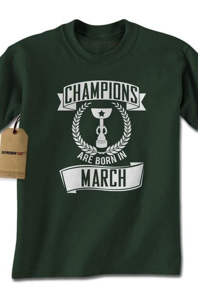 Champions Are Born In March Mens T-shirt