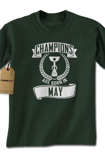 Champions Are Born In May Mens T-shirt