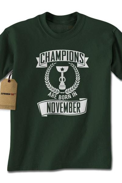 Champions Are Born In November Mens T-shirt
