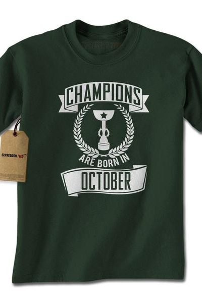 Champions Are Born In October Mens T-shirt