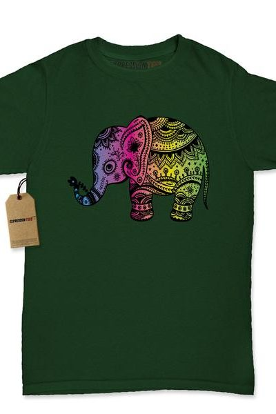 Colorful Elephant Graphic Womens T-shirt