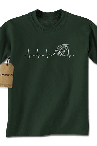 Dire Wolf Heartbeat Mens T-shirt