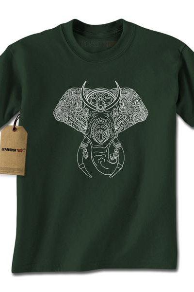 Elephant Animal Mandala Mens T-shirt