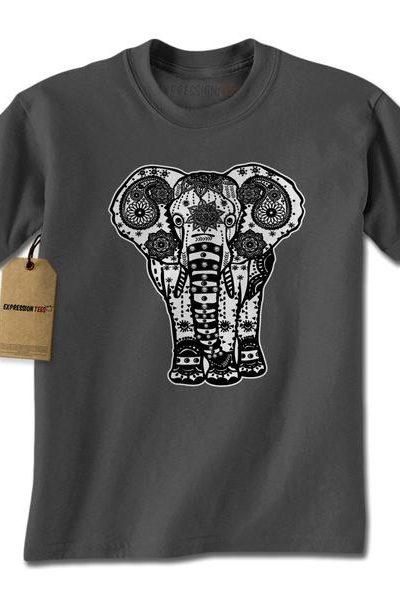 Elephant Indian Mandala Mens T-shirt