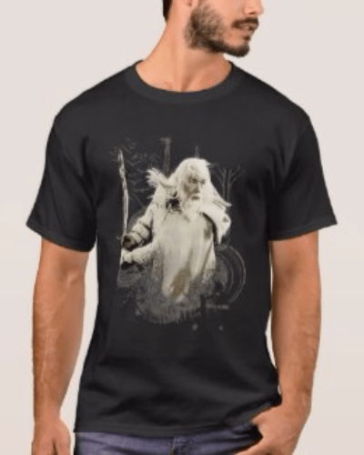 Gandalf with Sword Vector Collage T-Shirt