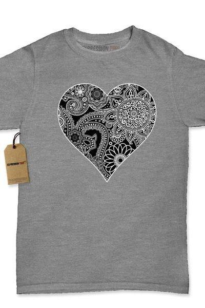 Heart Indian Mandala Womens T-shirt
