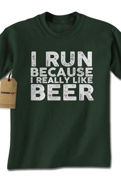 I Run Because I Like Beer Mens T-shirt