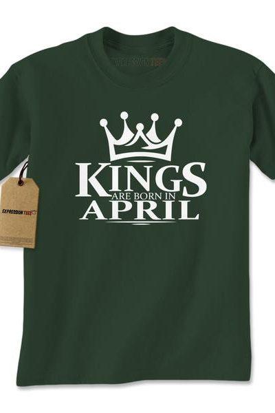 Kings Are Born In April Mens T-shirt