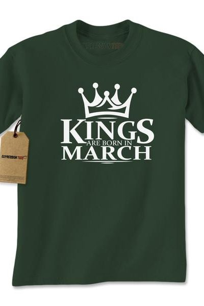 Kings Are Born In March Mens T-shirt