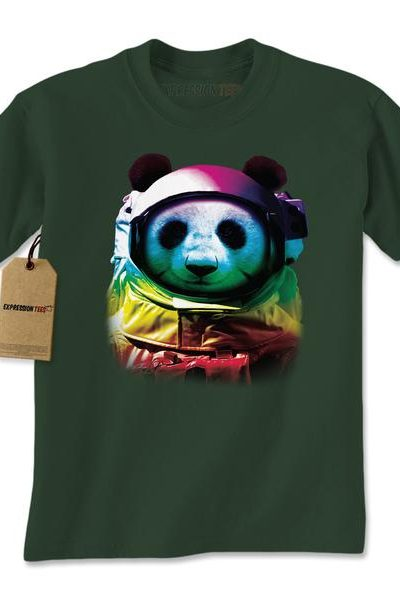 Panda In Space Neon Mens T-shirt