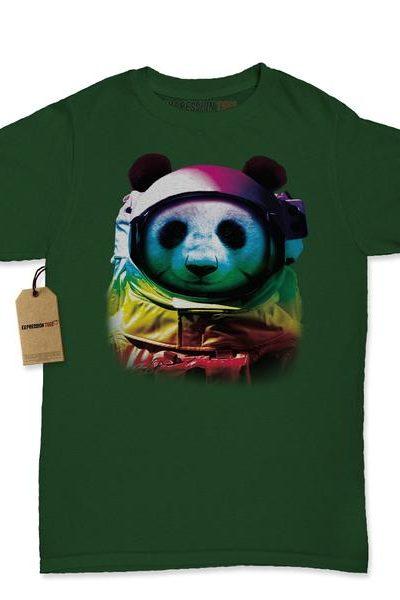 Panda In Space Neon Womens T-shirt