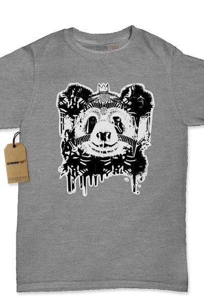 Panda With Crown Black & White Womens T-shirt
