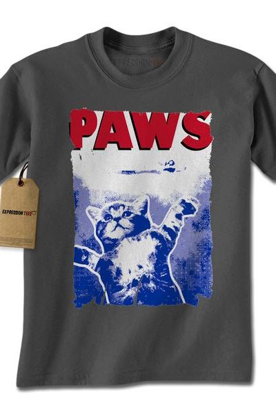 Paws Jaws Movie Poster Mens T-shirt
