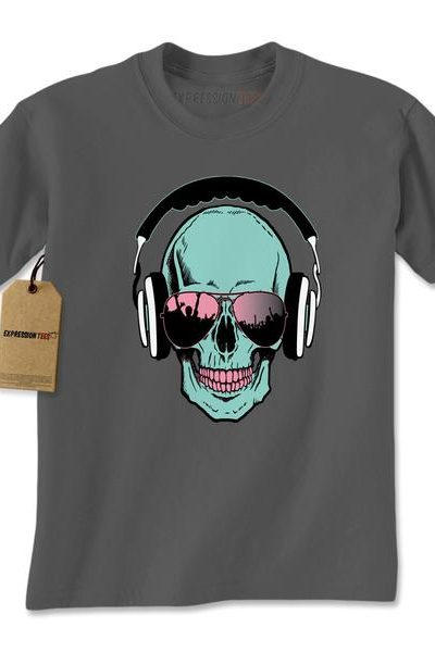 Skull DJ Earphones Mens T-shirt