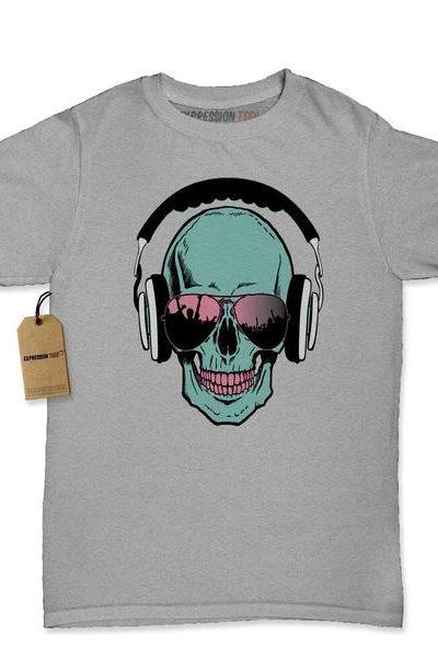 Skull DJ Earphones Womens T-shirt
