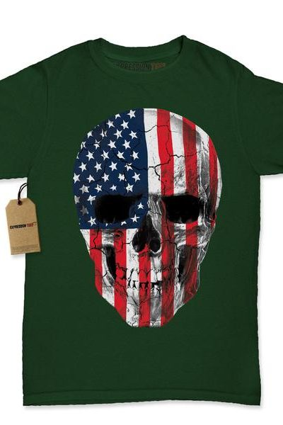 Skull U.S.A. Flag Womens T-shirt