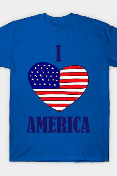 Fun Patriotic I love America Art T-Shirt