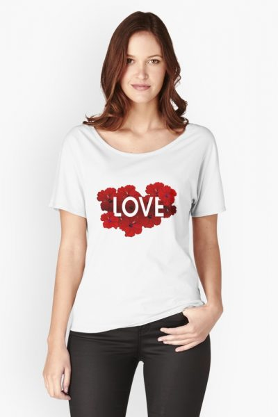 Love Floral Hibiscus illustrated typography tee