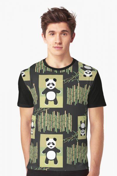 Pop Panda Bamboo Pattern green black