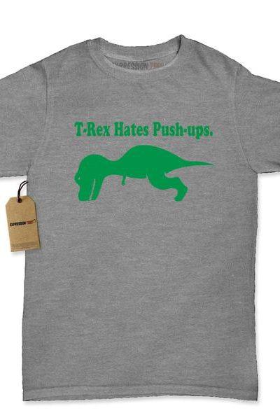T-Rex Hates Push-Ups Womens T-shirt