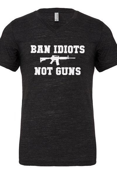 Ban Idiots Not Guns Mens Vneck Short Sleeve T-shirt