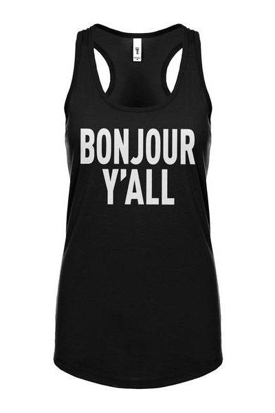 Bonjour Yall Womens Sleeveless Tank Top