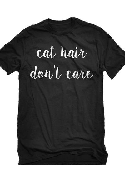 Cat Hair Don't Care Mens Unisex T-shirt