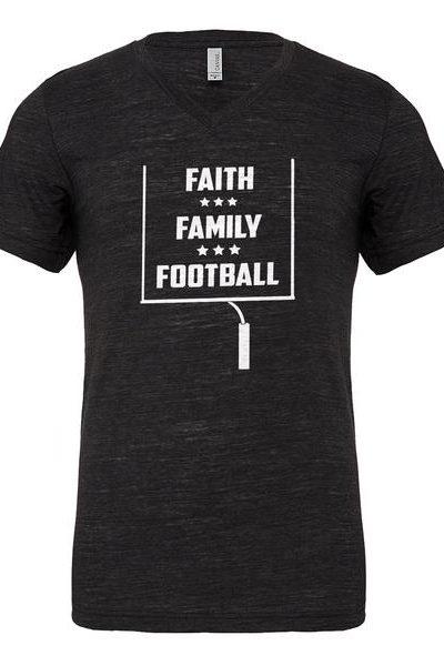 Faith Family Football Mens Vneck Short Sleeve T-shirt