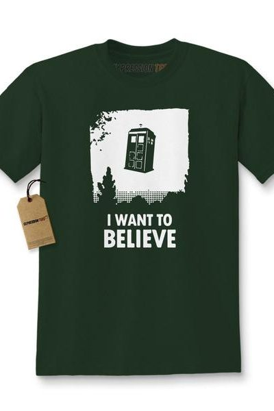 I Want To Believe Dr. Who Flying Tardis Kids T-shirt