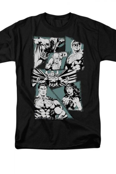 Justice League – A Mighty League Adult Regular Fit T-Shirt