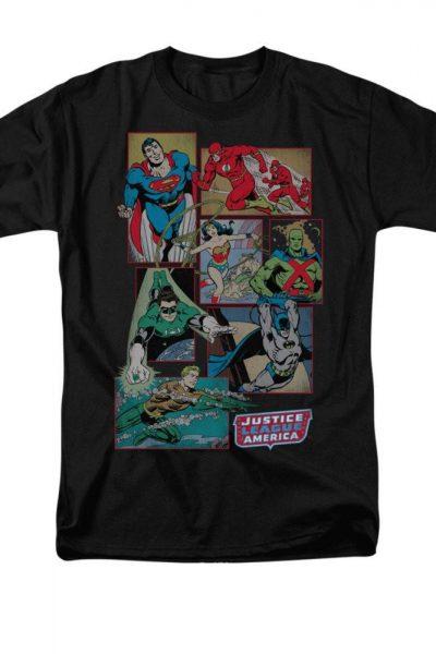 Justice League – Boxes Adult Regular Fit T-Shirt