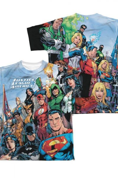 Justice League of America – Justice League Of America Youth All Over Print 100% Poly T-Shirt