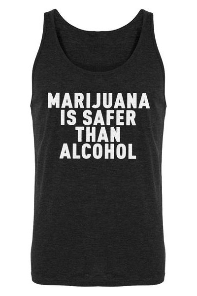 Marijuana is Safer Mens Sleeveless Tank Top