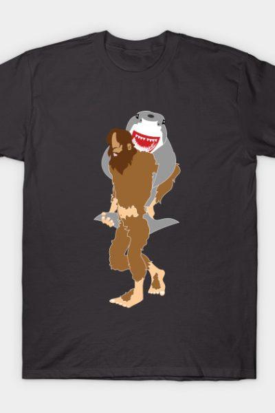 Sasquatch & Shark Piggyback Teamwork by Cricky T-Shirt