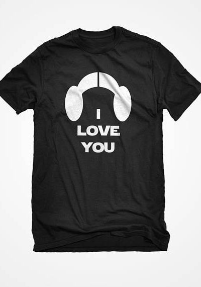 T-Shirt I Love You Unisex Adult Cotton Men's Short Sleeve Space Princess Valentine Tshirt Gift for Him or Her #3138