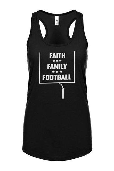 Faith Family Football Womens Sleeveless Tank Top