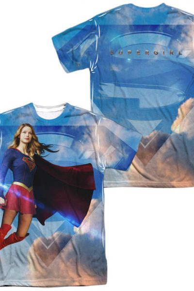 Supergirl – Up In The Sky Adult All Over Print 100% Poly T-Shirt