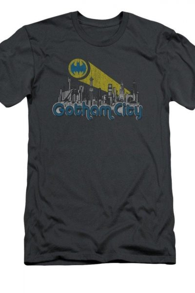 Batman – Gotham City Distressed Adult Slim Fit T-Shirt