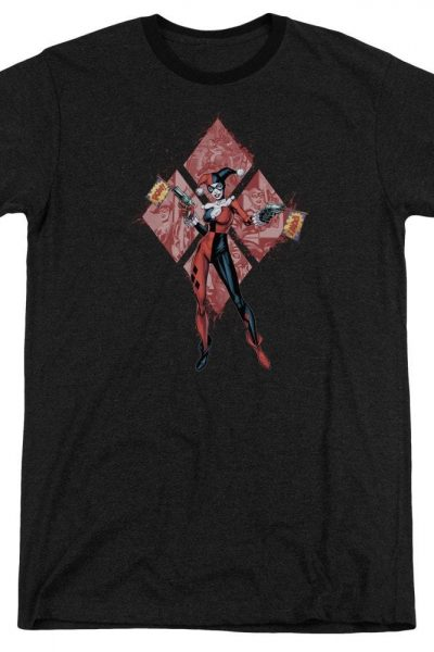 Batman – Harley Quinn (diamonds) Adult Ringer T- Shirt