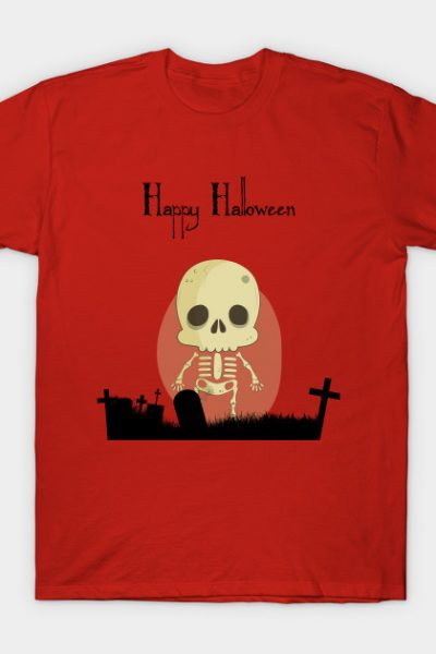 Happy Halloween With Cute Skull Character T-Shirt