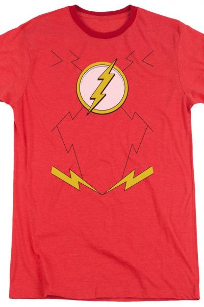 Jla – New Flash Costume Adult Ringer T- Shirt