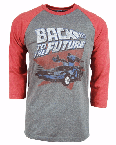 Mens Back to the Future Raglan T Shirt Grey – Buy Movie and Film Merchandise Gifts From Honcho-SFX UK Store