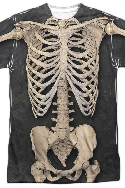 Skeleton Costume Adult All Over Print 100% Poly T-Shirt