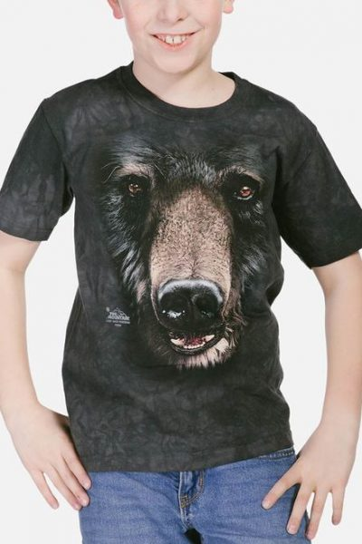 Black Bear Face Kids T-Shirt