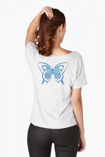Blue Watercolor Abstract Butterfly