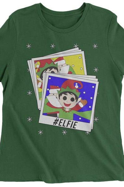 Elfie With Santa Ugly Christmas Womens T-shirt